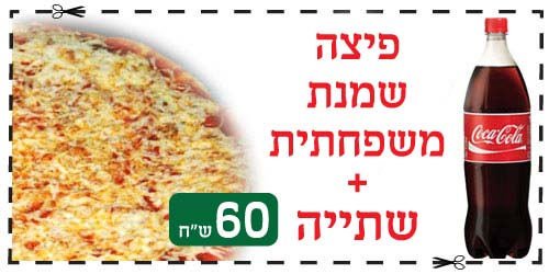 פיצה שמנת משפחתית ושתיה