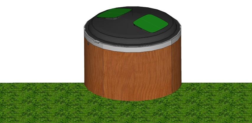 פח טמון בטון עם חיפוי עץ
