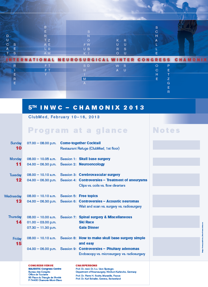 International Neurosurgical Winter Congress in Chamonix