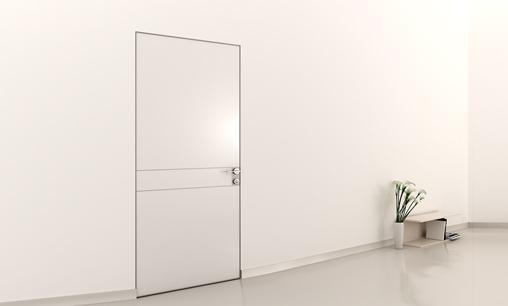 דלת במישור הקיר  זכוכית