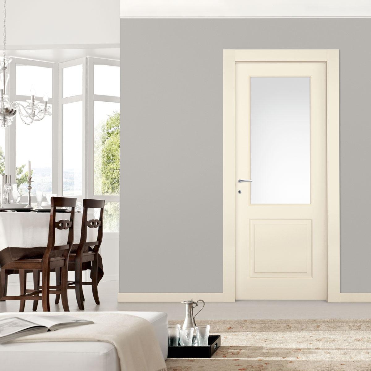 דלת דו -פנל. עם זכוכית חלבית צבע שמנת